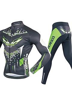 billige Sykkelklær-Realtoo Herre Langermet Sykkeljersey med tights - Svart / Grønn Sykkel Klessett, 3D Pute Polyester, Spandex Geometrisk / Elastisk