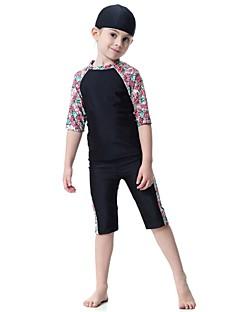 billige Badetøj til drenge-Børn Pige Blomstret Patchwork Halvlange ærmer Badetøj