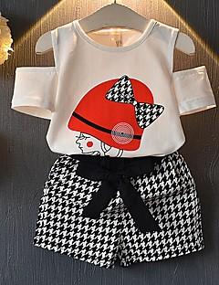 billige Tøjsæt til piger-Børn Pige Ensfarvet / Houndstooth mønster Kortærmet Tøjsæt