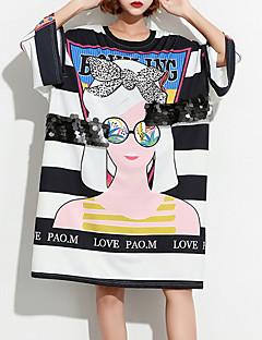 billige T-shirt-Løstsiddende Dame - Stribet / Portræt Bomuld T-shirt