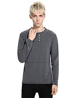 billige Herre Mode Beklædning-Rund hals Tynd Herre - Stribet Bomuld T-shirt