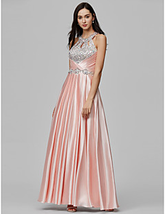 cheap Special Occasion Dresses-Sheath / Column Halter Floor Length Stretch Satin Formal Evening Dress with Beading Sequin Crystal Detailing by TS Couture®