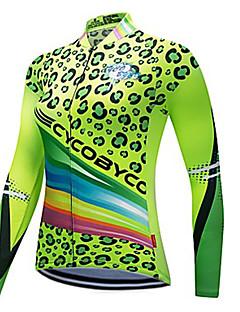 billige Sykkelklær-CYCOBYCO Dame Langermet Sykkeljersey - Grønn Leopard Store størrelser Sykkel Genser Jersey Topper Fort Tørring Refleksbånd sport Polyester 100% Polyester Fjellsykling Veisykling Klær / Elastisk