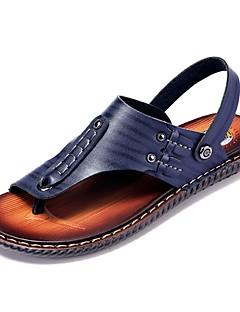 hesapli -Erkek Ayakkabı Nappa Leather Yaz Rahat Sandaletler Dış mekan için Koyu Mavi / Sarı / Koyu Kahverengi