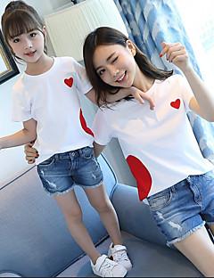 billige Sett med familieklær-Voksen / Barn Jente Grunnleggende Geometrisk Trykt mønster Kortermet T-skjorte