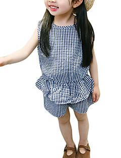 billige Tøjsæt til piger-Baby Pige Ruder Uden ærmer Tøjsæt