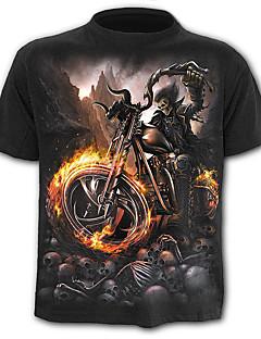 cheap Men's Fashion & Clothing-Men's Skull / Exaggerated Plus Size Cotton T-shirt - Skull Print / Short Sleeve