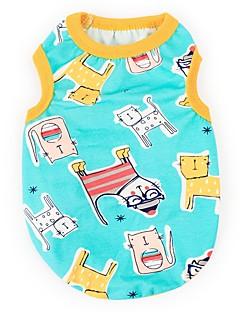 billiga Hundkläder-Hund Katt Husdjur Väst Hundkläder Enkel Tecknat Djur Blå Bomull / Polyester Kostym För husdjur Dam Unik design Fest
