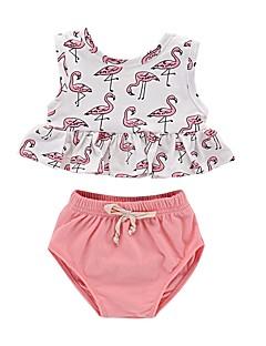 billige Tøjsæt til piger-Baby Pige Trykt mønster Uden ærmer Tøjsæt