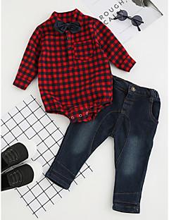billige Tøjsæt til drenge-Drenge Tøjsæt Fest Daglig Formel Ternet, Bomuld Vinter Forår Efterår Langærmet Pænt tøj Ternet Rosette Rød