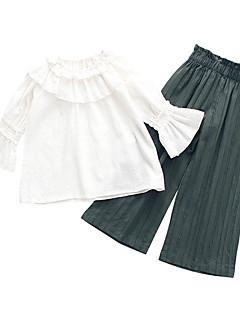 billige Tøjsæt til piger-Børn Pige Ensfarvet 3/4-ærmer Tøjsæt
