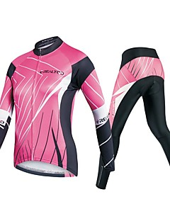 cheap Cycling Jersey & Shorts / Pants Sets-Women's Long Sleeve Cycling Jersey with Tights - Pink Bike Clothing Suits, 3D Pad Polyester / Spandex