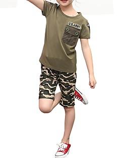 billige Tøjsæt til drenge-Børn Unisex Blå & Hvid Trykt mønster Kortærmet Tøjsæt