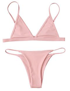 billige Bikinier og damemote 2017-Dame Stroppeløs Bikini Cheeky Ensfarget
