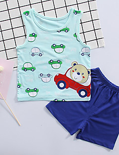 billige Sett med babyklær-Baby Unisex Trykt mønster Uden ærmer Tøjsæt