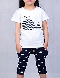 billige Tøjsæt til piger-Børn Unisex Ensfarvet Kortærmet Tøjsæt