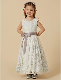 cheap Flower Girl Dresses-A-Line Tea Length Flower Girl Dress - Lace Satin Sleeveless Scoop Neck with Bow(s) Sash / Ribbon by LAN TING Express