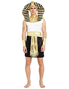 billige Halloweenkostymer-Egyptiske Kostymer Drakter Herre Halloween / Karneval / De dødes dag Festival / høytid Halloween-kostymer Svart Ensfarget / Stripet /