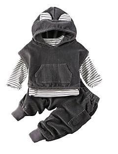 billige Tøjsæt til drenge-Børn Baby Drenge Ensfarvet Trykt mønster Langærmet Tøjsæt