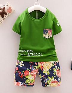 billige Tøjsæt til drenge-Baby Drenge Ensfarvet / Blomstret / Farveblok Kortærmet Tøjsæt