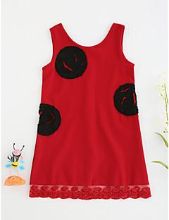Χαμηλού Κόστους Πώληση-Κορίτσια Φόρεμα Πολυεστέρας Μονόχρωμο Καλοκαίρι Αμάνικο Λουλουδάτο Κόκκινο