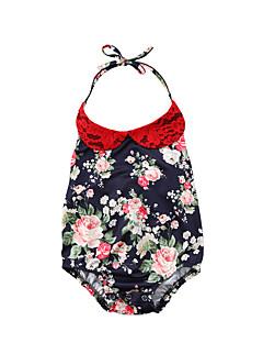 billige Babytøj-Baby Pige Blomstret / Farveblok Uden ærmer Bodysuit