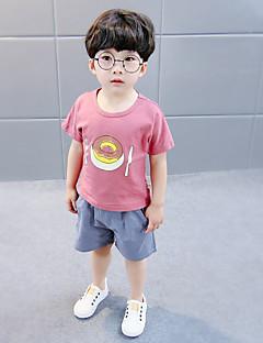 billige Tøjsæt til drenge-Børn Drenge Sort og hvid Ensfarvet Trykt mønster Kortærmet Tøjsæt