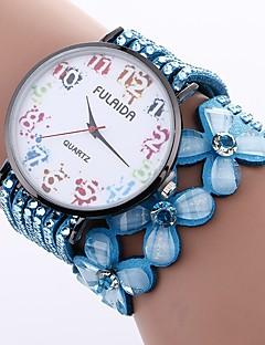 billige Armbåndsure-Dame Armbåndsur Kinesisk Imiteret Diamant / Afslappet Ur PU Bånd Blomst / Mode Sort / Hvid / Blåt