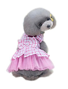 billiga Hundkläder-Husdjur Klänningar Hundkläder Randig / Blomma Svart / Blå / Rosa Nät Kostym För husdjur Prickig & Rutig / Rutig