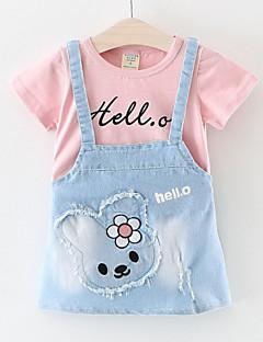 billige Babykjoler-Baby Pige Geometrisk Patchwork Kortærmet Kjole