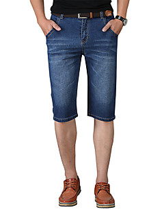 billige Herrebukser og -shorts-Herre Grunnleggende / Gatemote Shorts / Jeans Bukser Ensfarget
