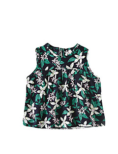 billige Babyoverdele-Baby Pige Blomstret Uden ærmer T-shirt
