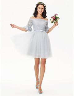 tanie Romantyczny róż-Księżniczka Z odsłoniętymi ramionami Krótka / Mini Tiul / Koronka koder Sukienka dla druhny z Przewiązka / Wstążka / Plisy przez LAN TING BRIDE®