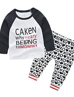 billige Babytøj-Baby Unisex Trykt mønster Kortærmet Tøjsæt
