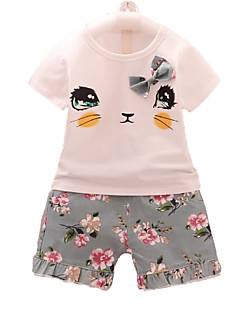 billige Tøjsæt til piger-Børn Baby Pige Blomstret Geometrisk Kortærmet Tøjsæt