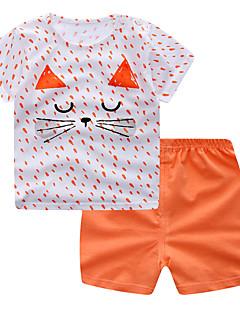 billige Tøjsæt til piger-Baby Pige Prikker / Geometrisk Kortærmet Tøjsæt