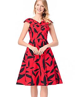 Χαμηλού Κόστους Γυναικεία Φορέματα-Γυναικεία Λεπτό Γραμμή Α Φόρεμα - Φλοράλ Ως το Γόνατο Λαιμόκοψη V