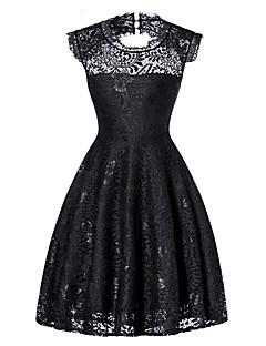 billige Vintage-dronning-Dame Vintage / Basale A-linje / Skede / Lille Sort Kjole - Ensfarvet, Blonder / Udhulet / Lace Trim Knælang