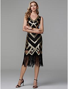billige Boutique-kjoler! STOR RABATT-Tube / kolonne V-hals Telang Polyester Glitrende Cocktailfest Kjole med Paljett av TS Couture®