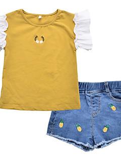 billige Tøjsæt til piger-Børn Pige Blomstret / Patchwork Kortærmet Tøjsæt
