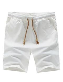 billige Herrebukser og -shorts-Herre Store størrelser Bomull / Lin Tynn Shorts Bukser Ensfarget / Vennligst velg én størrelse over din normale størrelse.
