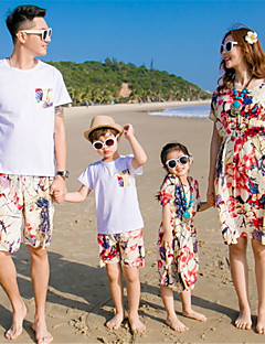 billige Sett med familieklær-Familie Look Ensfarget Kortermet Tøysett