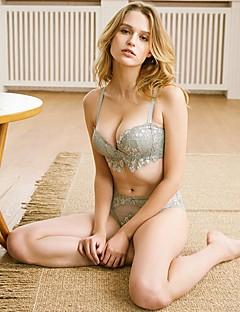billige Dame-brystholdere-Kvinner Sexy Sett med truse og BH Dytt opp / Blonde-BH / BH med bøyler 1/2-kopp - Blomstret / Jacquardvevnad / Broderi