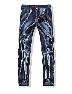 billige Herrebukser og -shorts-Herre Aktiv / Grunnleggende Jeans Bukser Ensfarget