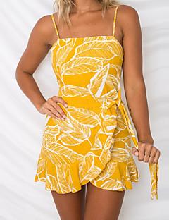 baratos Vestidos de Festa-Mulheres Básico / Boho Sereia Vestido - Frente Única / Estampado, Floral Acima do Joelho