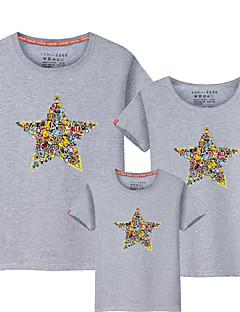 billige Sett med familieklær-Barn Familie Look Fargeblokk Kortermet T-skjorte