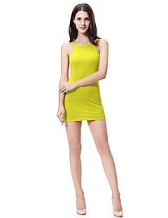 baratos Vestidos-Mulheres Tubinho / Bainha Vestido Sólido Mini / Acima do Joelho