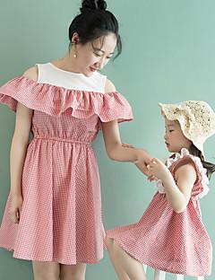 billige Sett med familieklær-Mamma og meg Ruter Ermeløs Kjole