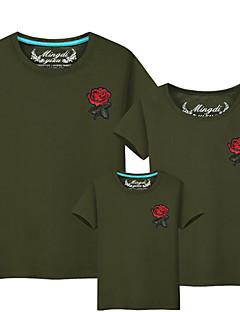 billige Sett med familieklær-3 deler Baby Familie Look Ensfarget Kortermet T-skjorte