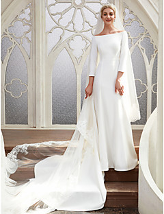 A-Line Bateau Neck Chapel Train Satin Made-To-Measure Wedding Dresses with  by LAN TING BRIDE®   Royal Style 44ce7a0cbb23